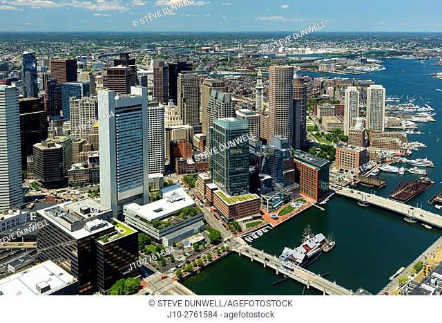 Aerial view of Fort Point channel, Greenway district, Intercontinental Hotel, Boston, Massachusetts, USA