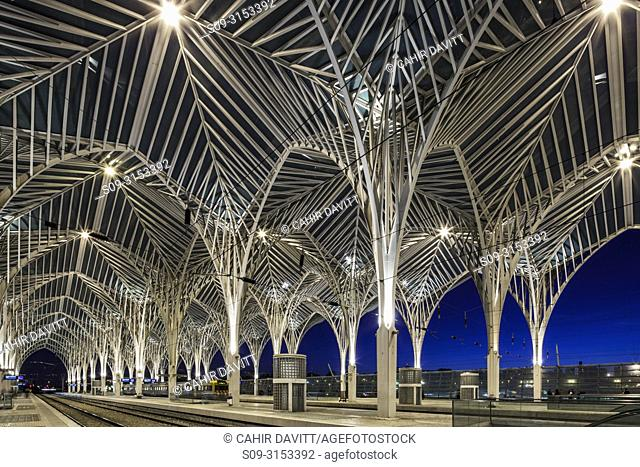 Contemporary modern modern steel and glass railway platform canopy of the Oriente Railway station, designed by the the architect / engineer Santiago Calatrava...