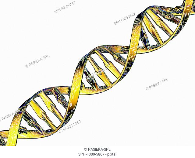 DNA double helix reflecting a DNA microarray. Microarray technology allows biologists to study thousands of genes at once
