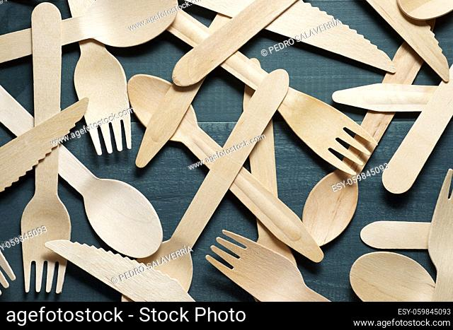 Disposable wooden cutlery on a table