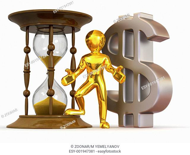Man with hourglass and dollar. 3d