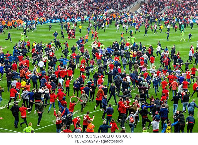 Middlesborough FC Football Fans Invade The Pitch At The Riverside Stadium After Their Team Are Promoted To The Premier League, Middlesborough, North Yorkshire