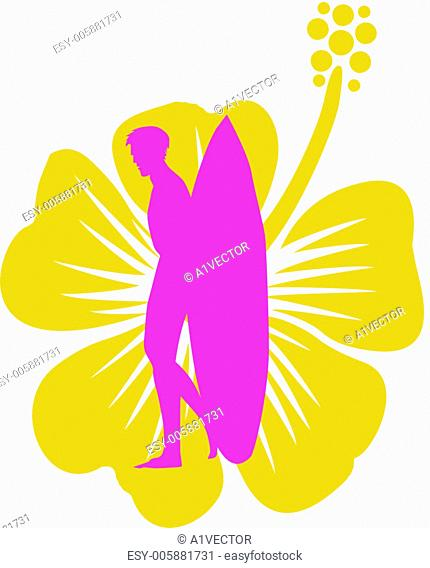 hibiscuse surfer and flower vector art