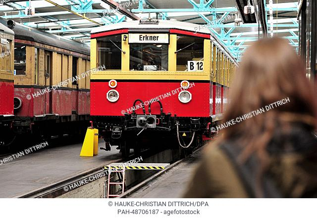 A historical train of the rapid-transit railway Berlin stands on 17.05.2014 in the motor coach hall in Erkner (Brandenburg)