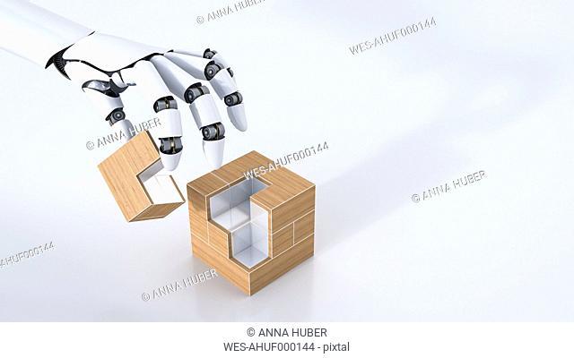 3D Rendering, robot hand assembling cube, copy space