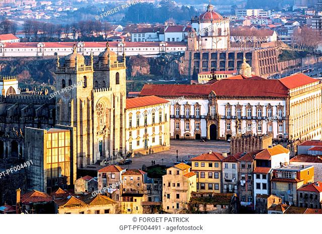 THE SE DO PORTO CATHEDRAL AND BISHOP'S PALACE WITH THE DOME OF THE SERRA DO PILAR MONASTERY, PORTO, PORTUGAL