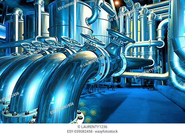 Big pipeline in the abstract refinery. Computer graphic image. 3D rendering illustration