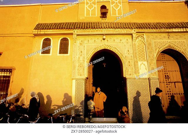 Qessabin Mosque at Djemaa el Fna square Marrakech Marrakech Province Morocco Africa