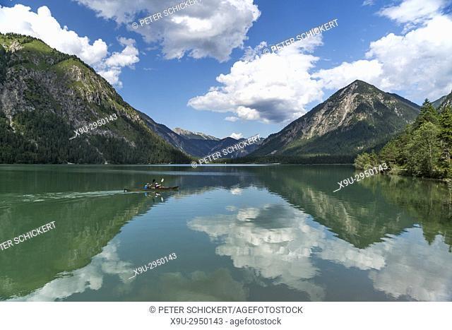 canoe on Lake Heiterwang, Heiterwang, Tyrol, Austria