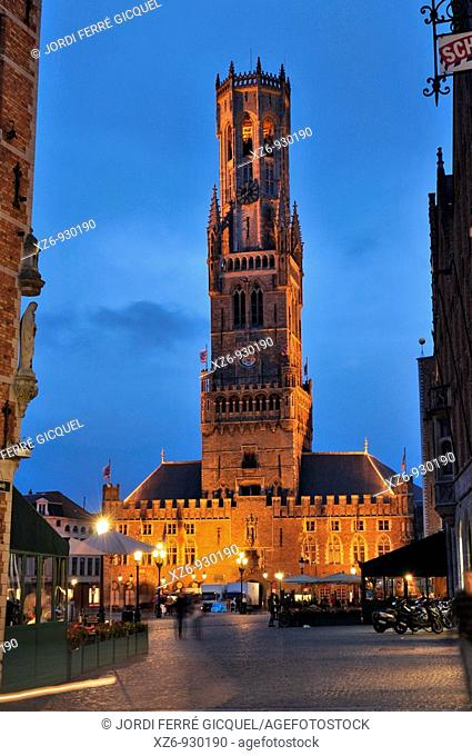 Belfort, Brugge  Markt square and belfry at night, Medieval town of Bruges, Belgium