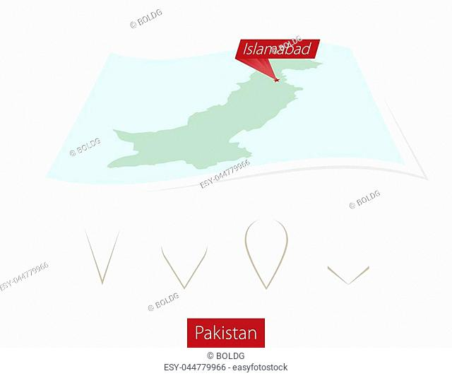 Curved paper map of Pakistan with capital Islamabad on Gray Background. Four different Map pin set. Vector Illustration