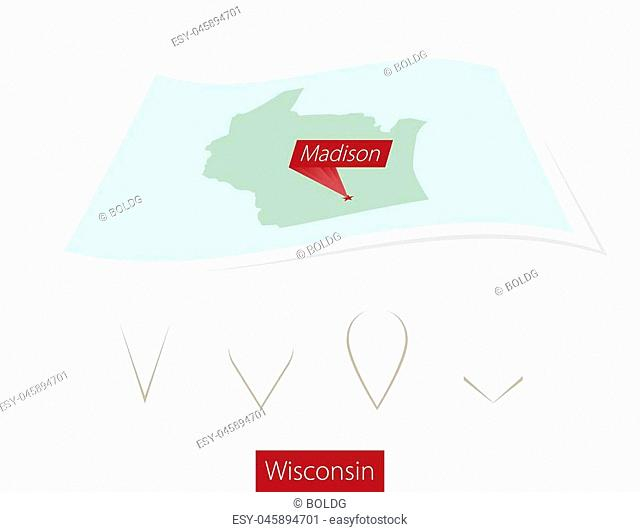 Curved paper map of Wisconsin state with capital Madison on Gray Background. Four different Map pin set. Vector Illustration