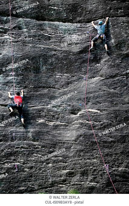 Rock climbers climbing rock face