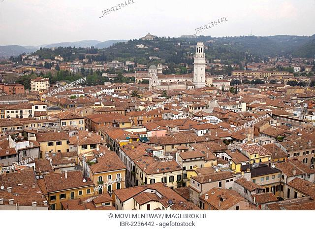View from the Torre dei Lamberti, Lamberti Tower, across town with the Cathedral, Verona, Veneto, Italy, Europe