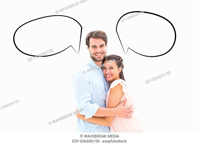 Composite image of attractive young couple hugging and smiling at camera