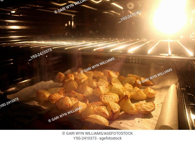 roast potatoes in oven in kitchen