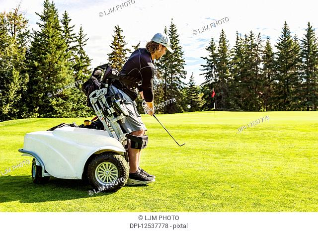 A physically disabled golfer chipping a ball onto the green and using a specialized golf assistance motorized hydraulic wheelchair; Edmonton, Alberta, Canada