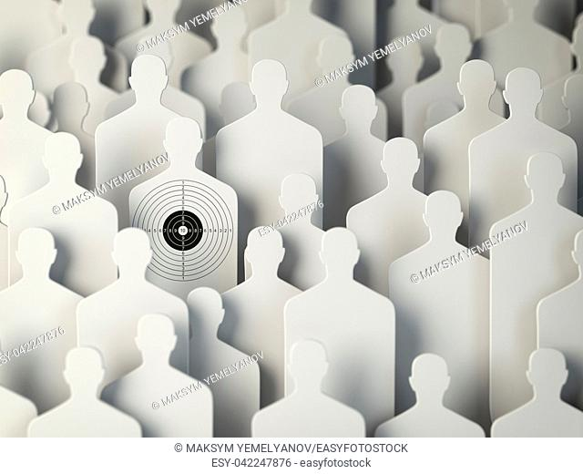 Backgound from shapes of people with target one. Concept for human resources and recruitment. 3d illustration