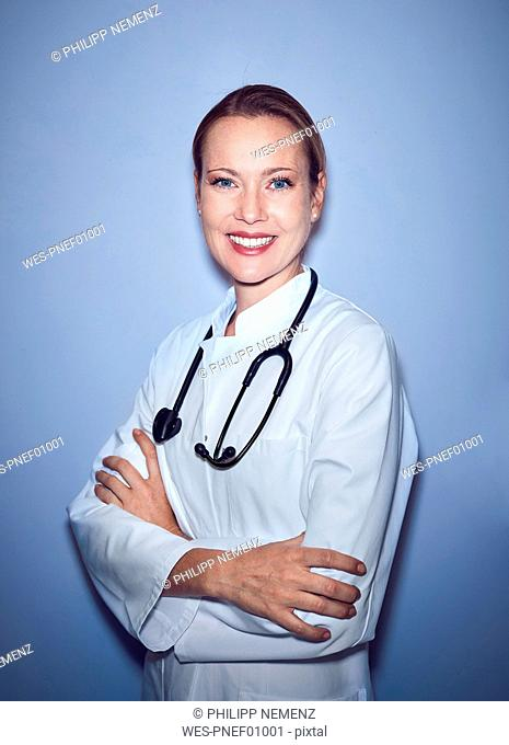 Portrait of smiling female doctor with stethoscope