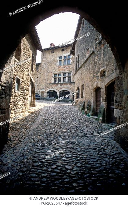 Arch in mediaeval town Perouges Ain France