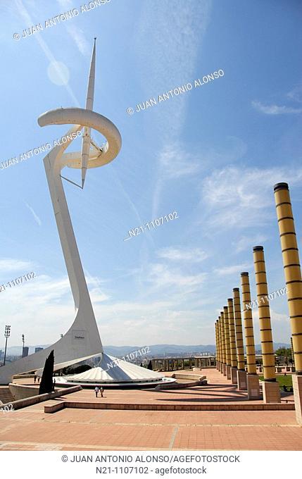 Santiago Calatrava's Telecommunications Tower. Plaza de Europa. Olympic Ring, Montjuich, Barcelona, Catalonia, Spain, Europe