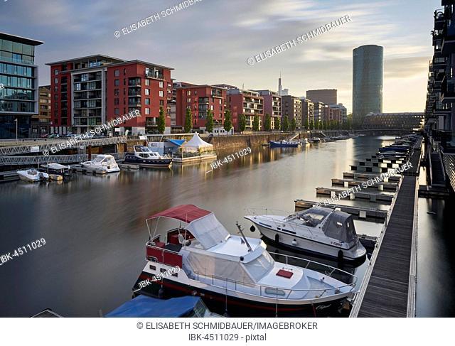 West Port with Westhafen Tower, Frankfurt am Main, Hesse, Germany