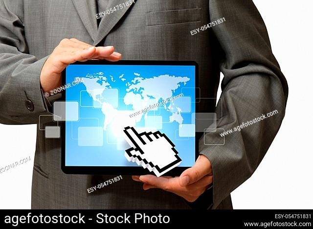 business man and hand cursor point to tablet computer, Elements of this image furnished by NASA