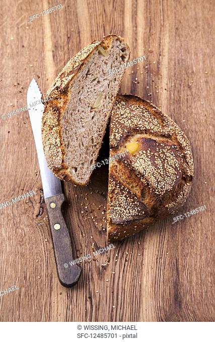 Potato bread, halved