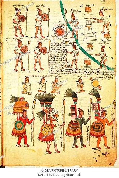 Mexico, 16th century. Codex Mendoza. Reproduction of a page with illustration of Aztec warriors armed with lances and shields