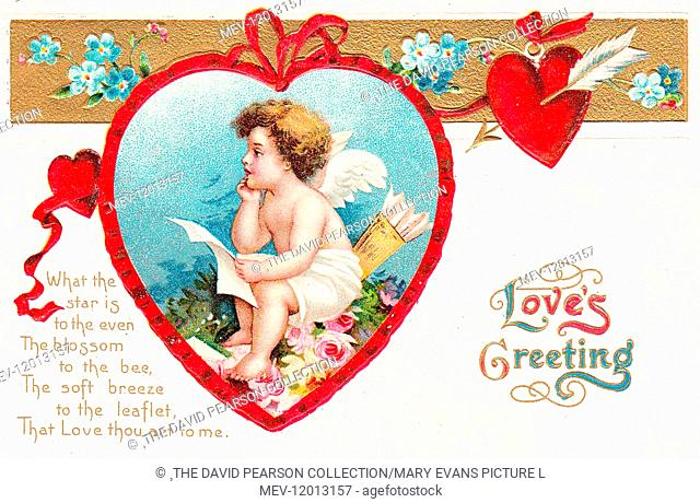 Cupid with hearts and flowers on a Valentine postcard -- Love's Greeting
