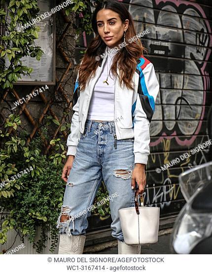 MILAN, Italy- September 19 2018:Tamara Kalinic on the street during the Milan Fashion Week