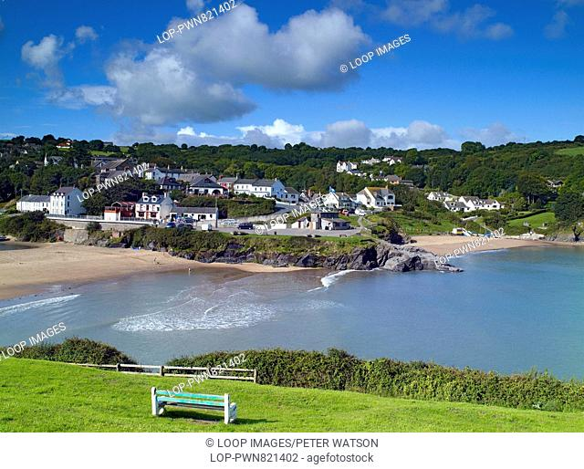 An elevated view of the coastal town of Aberporth
