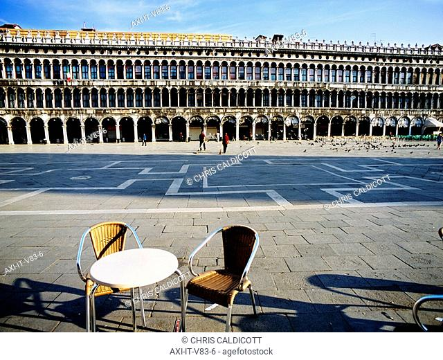 Table and chair in Piazza San Marco