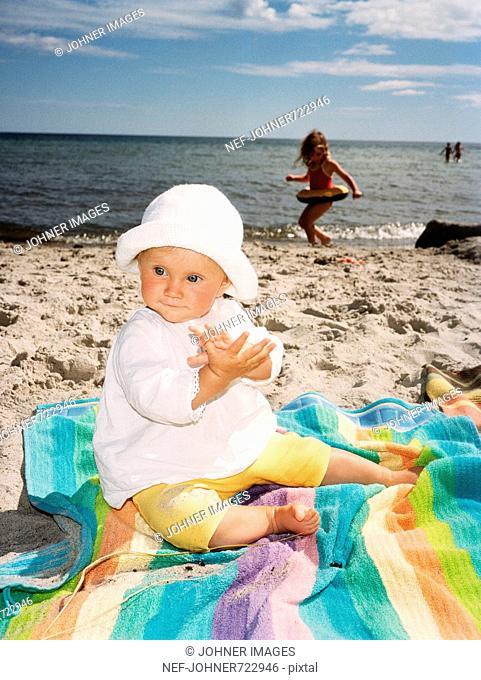 Children on a beach, Sweden