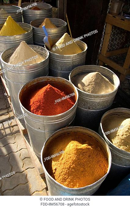 Variety of spices in the Medina in Marrakesh, Morocco