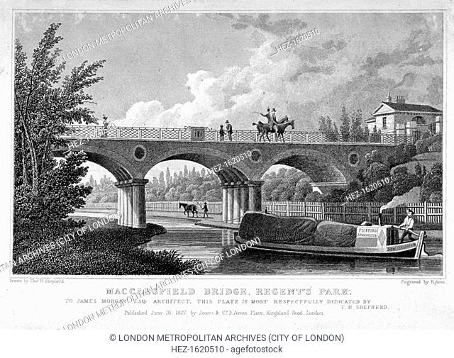 Macclesfield Bridge, Regent's Park, Marylebone, London, 1827. View of the bridge with a barge on the canal about to pass under it