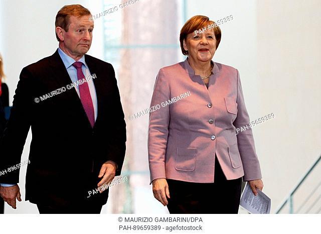 German Chancellor Angela Merkel (CDU) receives the Prime Minister of Ireland Enda Kenny in Berlin, Germany, 6 April 2017