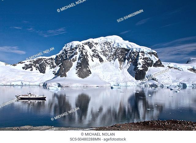 The Lindblad Expedition ship National Geographic Endeavour operating in the Errera Channel in the Antarctic peninsula in Antarctica Lindblad Expeditions...