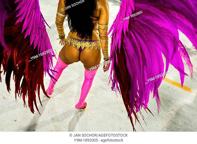 A samba school dancer performs during the Carnival Access Group parade at the Sambadrome in Rio de Janeiro, Brazil, 19 February 2012  The Carnival in Rio de...