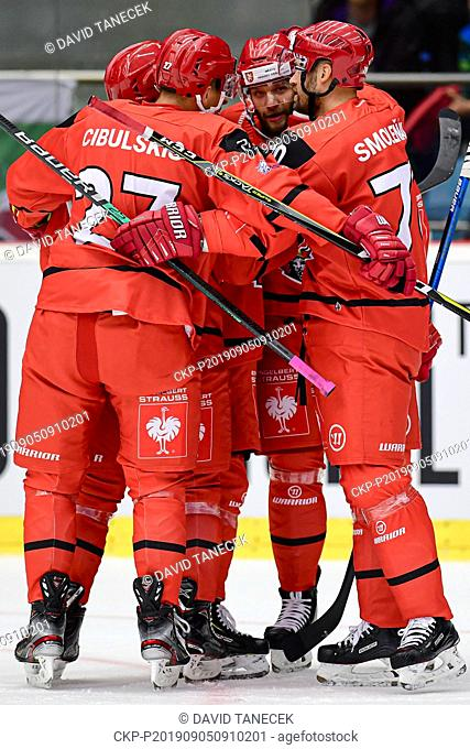 From left hockey player Tomas Vincour (2nd right) of Hradec Kralove celebrates a goal during the Champions Hockey League H group game: Hradec Kralove vs Cardiff...