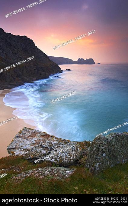 UK - England Cornwall Porthcurno View over pristine beach at dawn Europe European England English Great Britain British UK Cornish West Country Coast Coastal...