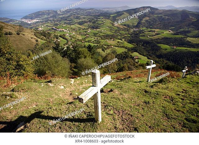 Crosses at Hernio Txiki mountain pass, Pagoeta Natural Park, Aya, Guipuzcoa, Basque Country, Spain