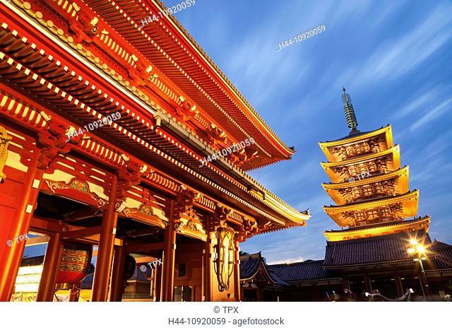 Asia, Japan, Tokyo, Asakusa, Asakusa, Kannon Temple, Sensoji, Temple, Temples, Pagoda, Pagodas, Hozomon Gate, Night, View, Illumination, Tourism, Travel