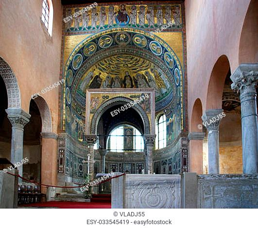 Euphrasian basilica, central nave and kivory. Porec, Istria, Croatia. Included in the UNESCO World Heritage List