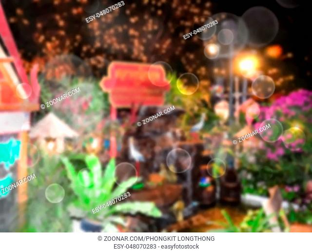 Abstract Blurred and soft photo of night festival and bokeh of lights background