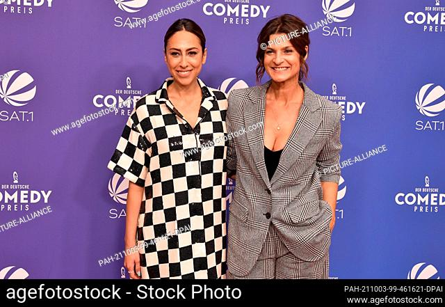 01 October 2021, North Rhine-Westphalia, Cologne: Presenter Melissa Khalaj and Marlene Lufen, l-r, arrive at the 2021 German Comedy Awards ceremony