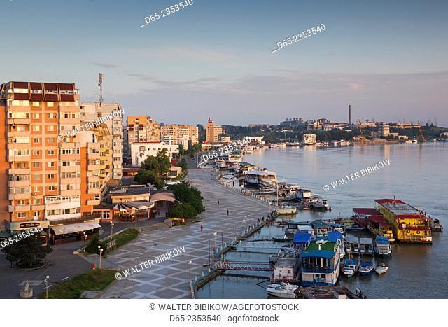 Romania, Danube River Delta, Tulcea, elevated view of the Tulcea Port on the Danube River, dawn