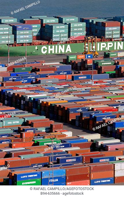 Containers. Port of Barcelona. Catalonia. Spain