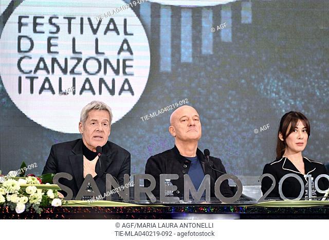 Claudio Baglioni, Claudio Bisio, Virginia Raffaele attends the press conference to present the 69th Sanremo Italian Song Festival, Sanremo, Italy
