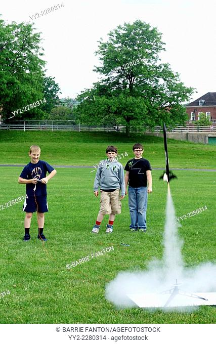 Launching Model Rocket, Wellsville, New York, United States